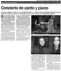 El Diario del Fin del Mundo, 04/01/2008: Museo Marítimo de Ushuaia. Concierto de Canto y Piano