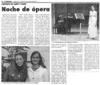 Diario El Imparcial, 03/01/2008: Concierto de canto y piano. Noche de ópera