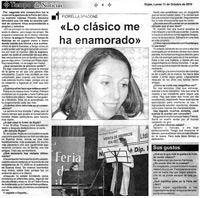 Tiempo de Noticias. Rojas, 11/10/2010. Reportaje. Lo clásico me ha enamorado